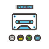 Icons music colorful design vector line black on white backgroun Stock Photo