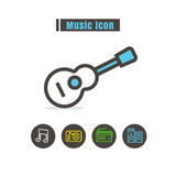 Icons music colorful design vector line black on white backgroun Royalty Free Stock Photography
