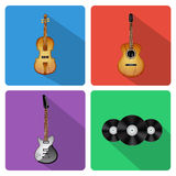 Icons with musical instruments Stock Photo