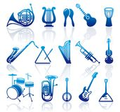 Icons of musical instruments. Silhouettes of various musical instruments. Vector illustration Stock Photography
