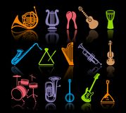 Icons of musical instruments. Silhouettes of various musical instruments. Vector illustration Stock Photo