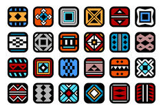 Icons with native american ornaments Stock Images