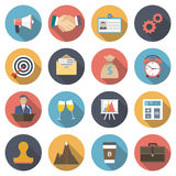 Icons negotiations. Business meetings, company's work, cooperation, deal, celebration, conference, success, money. Modern flat  design, element concept. vector Stock Images