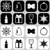 Icons with new year objects. Icons with new year and christmas objects Royalty Free Stock Photography
