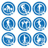 Icons. Nine different blue icons with white silhouettes for different sports Royalty Free Illustration