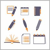 Icons of notepads and pencils Stock Photos