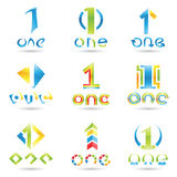 Icons for number 1. Vector illustration of Icons for number one  on white background Royalty Free Stock Images