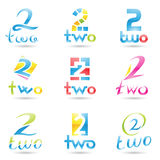 Icons for number 2. Vector illustration of Icons for number two isolated on white background Stock Image