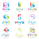 Icons for Number 5 Stock Image