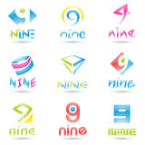 Icons for Number 9 Royalty Free Stock Photo