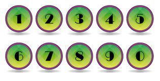 Icons numbers green Stock Photos