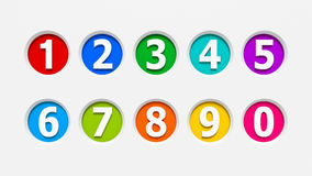 Icons numbers set #2. Color icons numbers set carved into the light gray surface, three-dimensional rendering Royalty Free Stock Photo