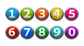 Icons numbers set. Color icons numbers set isolated on white background, three-dimensional rendering Royalty Free Stock Photo