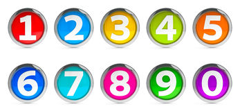 Icons numbers set #3. Color icons numbers set isolated on white background, three-dimensional rendering Stock Photos