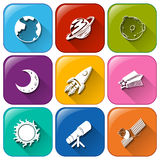 Icons with objects found in the outerspace Royalty Free Stock Images