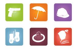 Icons with objects of protection Royalty Free Stock Photography