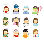 Icons Occupations Woman. Vector illustration showing various women occupations Stock Illustration