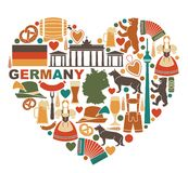 Icons Of Germany In Heart Shape Royalty Free Stock Image