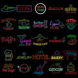 Icons Of Neon Store Signs Royalty Free Stock Photography