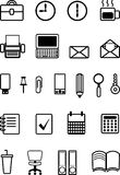 Icons for office, black and white, contour, vector illustration Stock Image