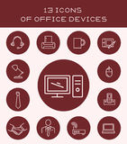 13 icons of office devices. Set of icons with different objects and office equipment royalty free illustration