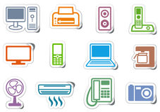 Icons of office equipment. Set of icons office equipment on stickers