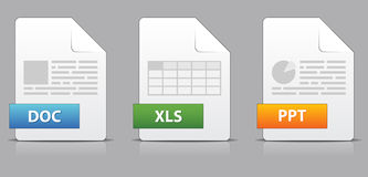 Icons for office file extensions. Set of icons for office file extensions Stock Images