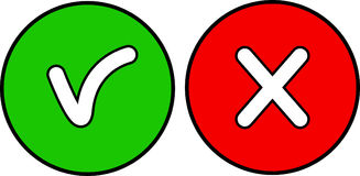 Icons for OK and REJECT. Two circular icons for the options of accepting and rejecting stock illustration