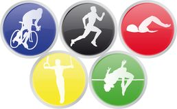 Icons of Olympics sports. Vector illustration of icons of five olympic sports Stock Photography