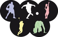 Icons of Olympics sports. Vector illustration of icons of five olympic sports Royalty Free Stock Images
