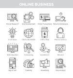 Icons for online business planning, development and speares Royalty Free Stock Photography