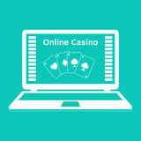 Icons. Online casino. playing cards on a laptop monitor. Flat design. Stock Photos