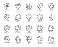 20 icons for online or offline stores, shopping, booking sites and apps. Logo for offers, commerce, black friday sale. Set of 20 line icons for online or offline royalty free illustration