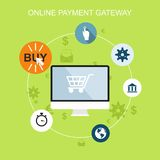 Icons online payment gataway. Flat design. Vector illustration Royalty Free Stock Image