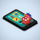 Icons online shop on the smartphone screen. Vector illustration. Icons online shop on the smartphone screen. Shopping basket with a box with a gift and bags. E Stock Photography