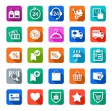 Icons, online store, buy, shopping, colored with shadow. Royalty Free Stock Images