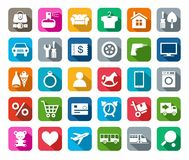 Icons, online store, categories of products, colored background, shadow. Stock Photos