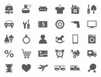 Icons, online store, product categories, monochrome, white background. Royalty Free Stock Images