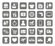 Icons, online store, product categories, monotone, grey background. Royalty Free Stock Images