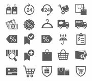 Icons, online store, shopping, monochrome, payment, delivery, discounts. Stock Image