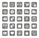 Icons, online store, shopping, shipping, payment, grey background. Royalty Free Stock Image