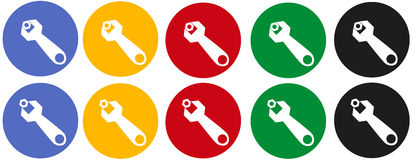Icons open-end wrench with a nut Stock Photos