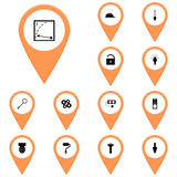 Icons orange, callout, map / Vector icon set instrument/ Icon voltmeter, Royalty Free Stock Photos