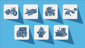 Icons outline motor vehicle car plane ship helicopter Stock Image