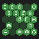 Icons Pack Hexagon. Set vectors green hexagon icons Royalty Free Stock Photos