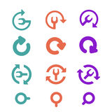 Icons Pack and restart, refresh. Flat style. Stock Photography
