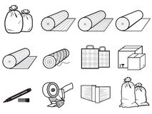 Icons packages of goods: bag, boxes Stock Photos