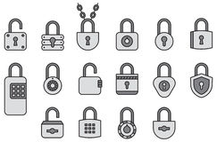 Icons of padlocks. Illustrations of padlocks in a variety of shapes some designed to be opened and  locked  using  metal keys and some by setting an electronic Royalty Free Stock Photo