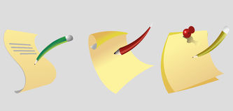 Icons of paper with a pencil and pen Stock Image