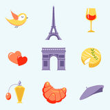 Icons with Paris symbols vector Stock Image